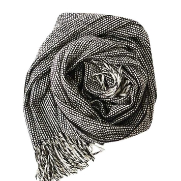 Black and white Emphasis tweed scarf