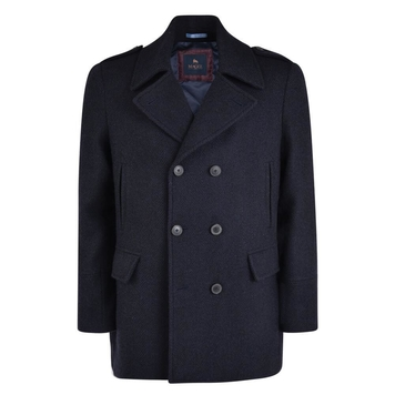 Navy Finta Double Breasted Donegal Tweed Peacoat