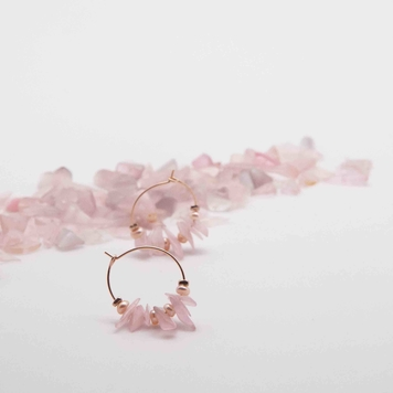 Rose Quartz Mini Hoop Earrings