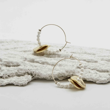Beaded Disc Midi Hoops