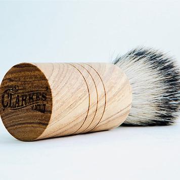 Handmade Irish Ash shaving brush with a handmade badger hair brush No 7. Shaving soap