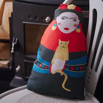 Frida doll shaped cushion
