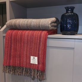 Bright Red Heritage Tweed Throw