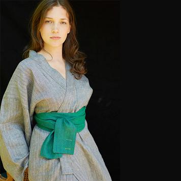 Irish Linen Kimono Robe
