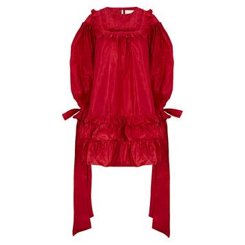 Cardinal Red Silk Taffeta Dress