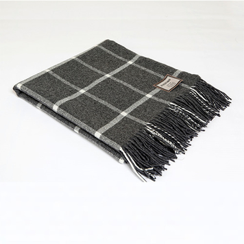 Grey Windowpane Throw
