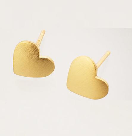 Heart earrings, 9ct gold