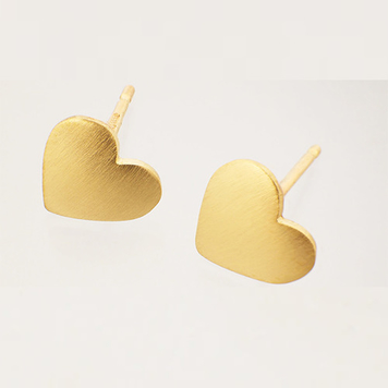 Heart earrings, 9ct gold