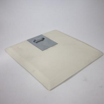 Square Plate, Porcelain, Mono Print - 'Whitethorn' - White