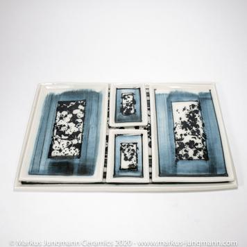 Serving Set, 5 Piece - Porcelain - Mono Print - 'Whitethorn Blossom'