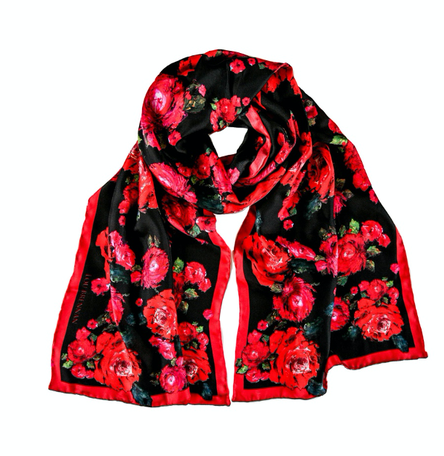 'Mayo Rose' Long Silk Twill Scarf