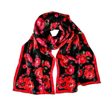 'Mayo Rose' Long Silk Twill Scarf