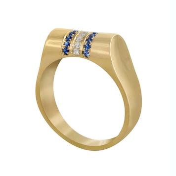 Breton Stripe' Sapphire and Diamond High Top Ring