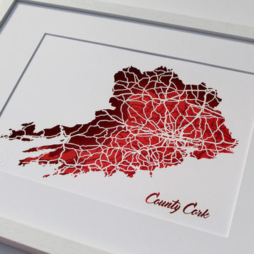 County Cork papercut map