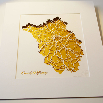 County Kilkenny papercut map