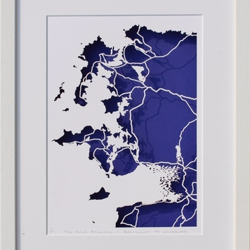 Mayo Coastline papercut map