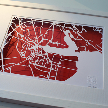 Dundalk, Co. Louth papercut map