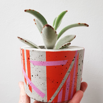 Two Tone Concrete Planter with colourful geometric detailing