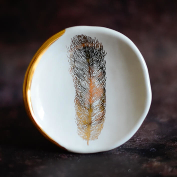White Ring Dish/Wall Hang with Feather