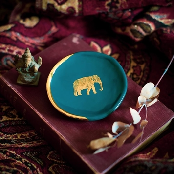 TEAL RING DISH WITH ELEPHANT