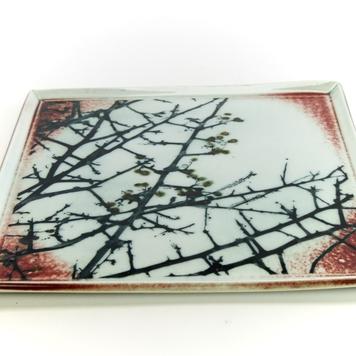 Square Plate, Porcelain, Mono Print, 'Whitethorn'