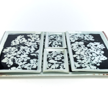 Serving Set, 5 Piece - Porcelain - Mono Print - 'Whitethorn Blossom'
