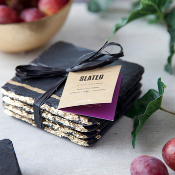 Gold Leaf Slate Coasters