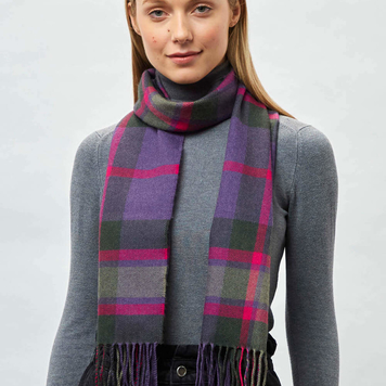 Purple Mirror Block Check Scarf