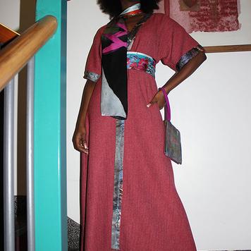 Fuchsia kimono style woolen dress/coat