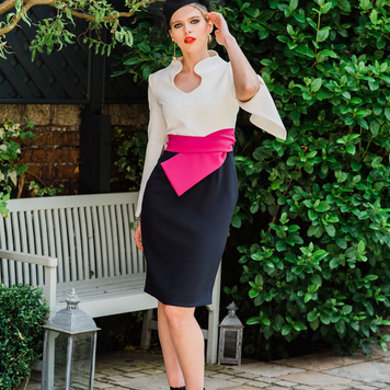White top & navy skirt pink belted dress