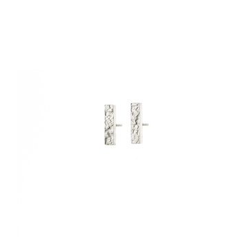 Metal & Lace Silver Stud Earrings