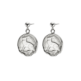 Sterling Silver Hare 3 Pence Coin Earrings