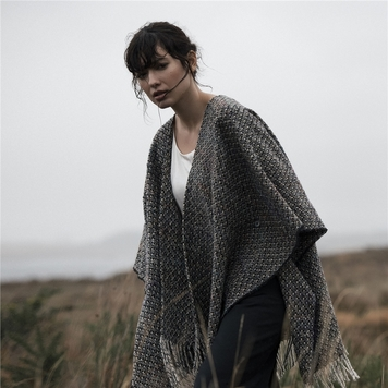 Grey Donegal Tweed Checked Eske Cape