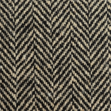 Cream & Black Herringbone Donegal Tweed