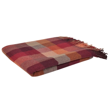 Autumnal Lambswool Patchwork Throw