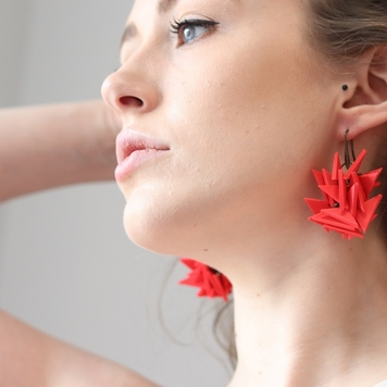 Red Medium Extremely Light Earrings