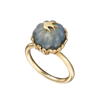 Swallows Ring with Carved Sapphire