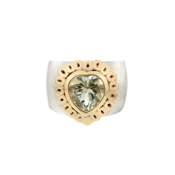 Heart-full Green Amethyst Solid Gold and Silver Ring