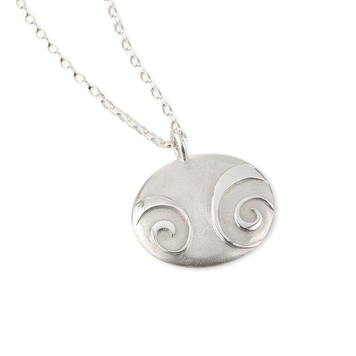 """Large Spiral Pebble pendant on 18"""" bell chain"""