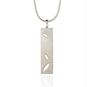 "Silver Lace Leaf oblong pendant on 18"" snake chain"