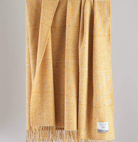 Yellow Basket Weave Throw
