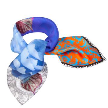 Blue+Orange Small Silk Scarf