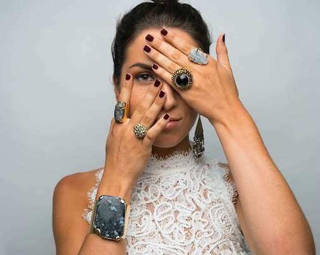 RIGHT HAND POINTER FINGER Hazel Ring by Christina Goldston R5027 BK 120 RING FINGER Olive Ring by Christina Goldston NEEDS INV 48 copy