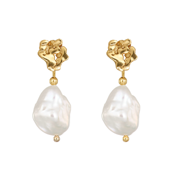 Gold Plated Giant's Causeway Pearl Drop Earrings
