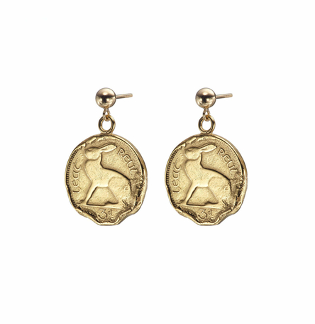 Gold Plated Hare 3 Pence Coin Earrings