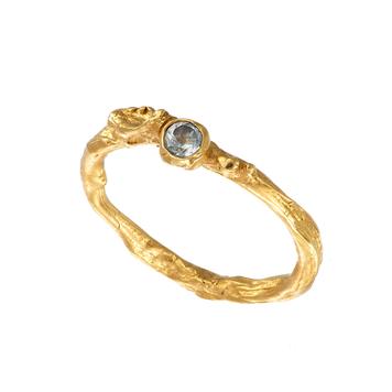 Gold Plated Irish Shrubbery Aquamarine Ring