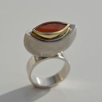 Carnelian Navette Ring