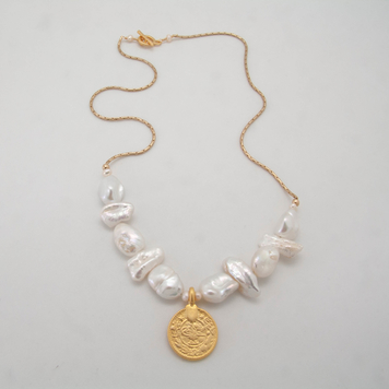 Baroque Pearl Medallion Necklace