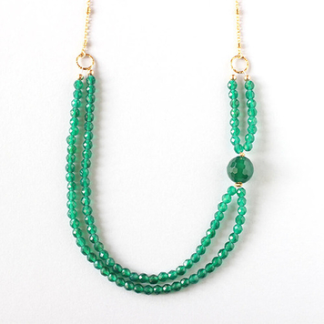 Green Agate Gold Necklace