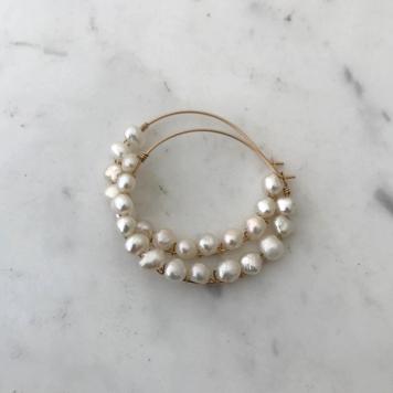 Pearl Wrapped Hoop Earrings